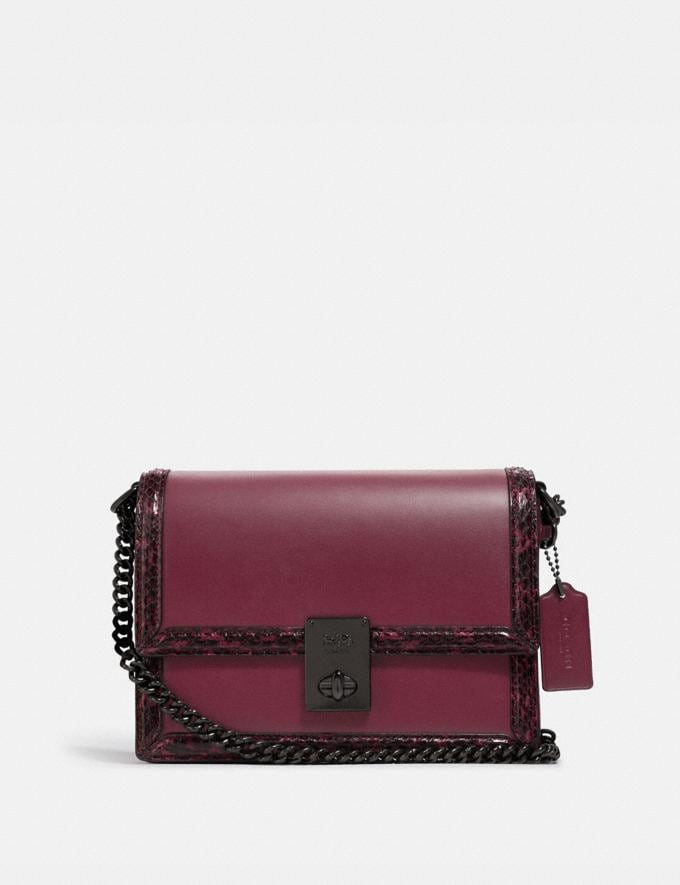 Coach Hutton Shoulder Bag With Snakeskin Detail Pewter/Black Cherry Cyber Monday For Her Cyber Monday Sale