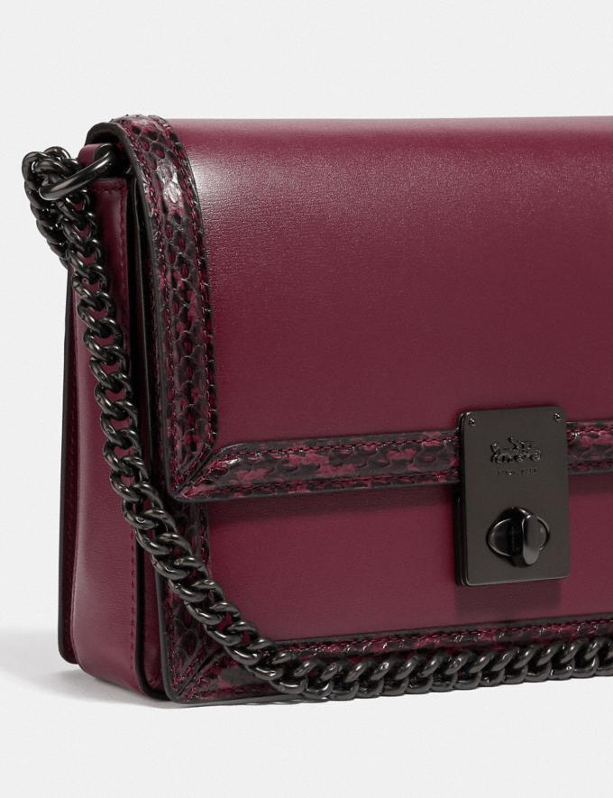 Coach Hutton Shoulder Bag With Snakeskin Detail Pewter/Black Cherry Cyber Monday For Her Cyber Monday Sale Alternate View 5