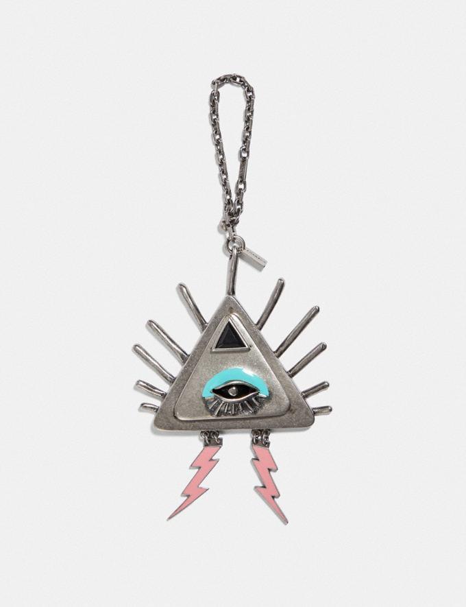 Coach Pyramid Eye Bag Charm Black/Silver Women Accessories Bag Charms & Key Rings