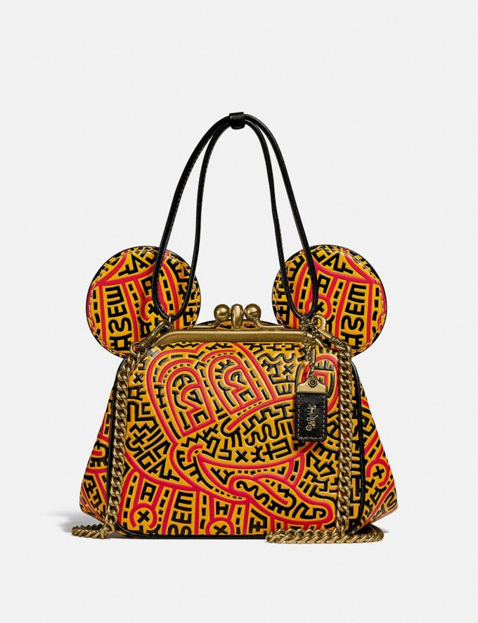 Coach Disney Mickey Mouse X Keith Haring Kisslock Bag B4/Black Multi Women Bags Shoulder Bags