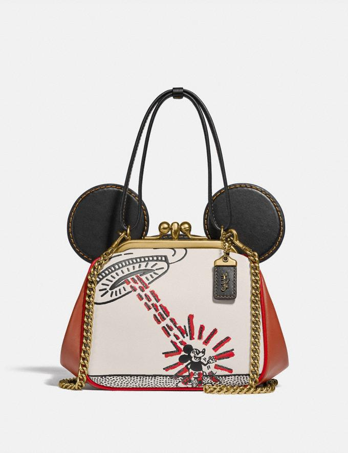 Coach Disney Mickey Mouse X Keith Haring Kisslock Bag Brass/Chalk 1941 Saddle New Featured Mickey x Keith Haring