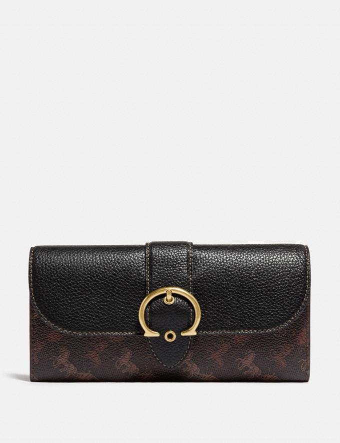 Coach Beat Wallet With Horse and Carriage Print B4/Black Brown Women Small Leather Goods Large Wallets