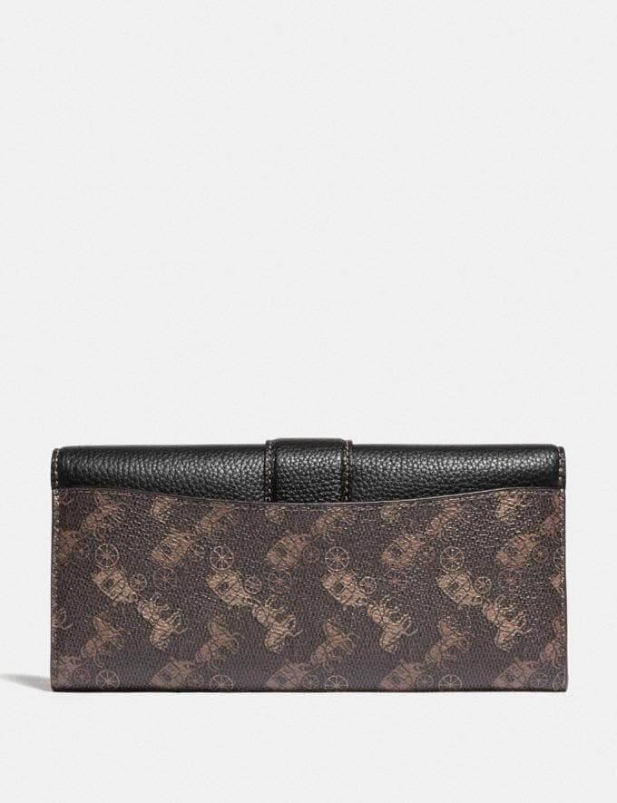 Coach Beat Wallet With Horse and Carriage Print B4/Black Brown Women Small Leather Goods Large Wallets Alternate View 1