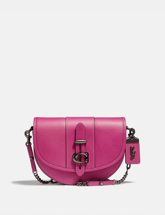Coach Saddle 20 Fuchsia/Pewter Women Bags Shoulder Bags