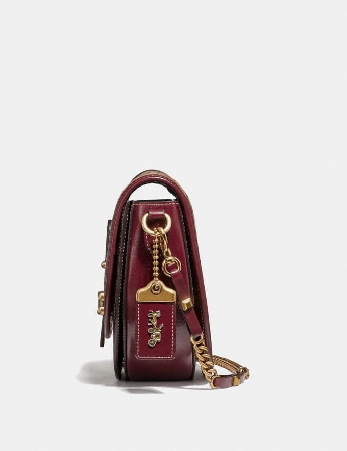 Coach Saddle 24 in Signature Jacquard Tan/Scarlet/Brass Women Collection Signature Alternate View 1