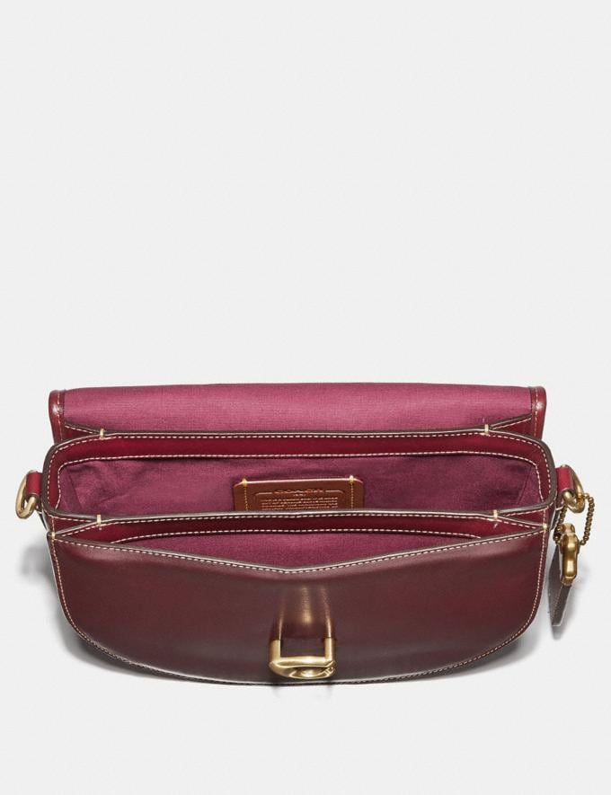 Coach Saddle 24 in Signature Jacquard Tan/Scarlet/Brass Women Collection Signature Alternate View 2