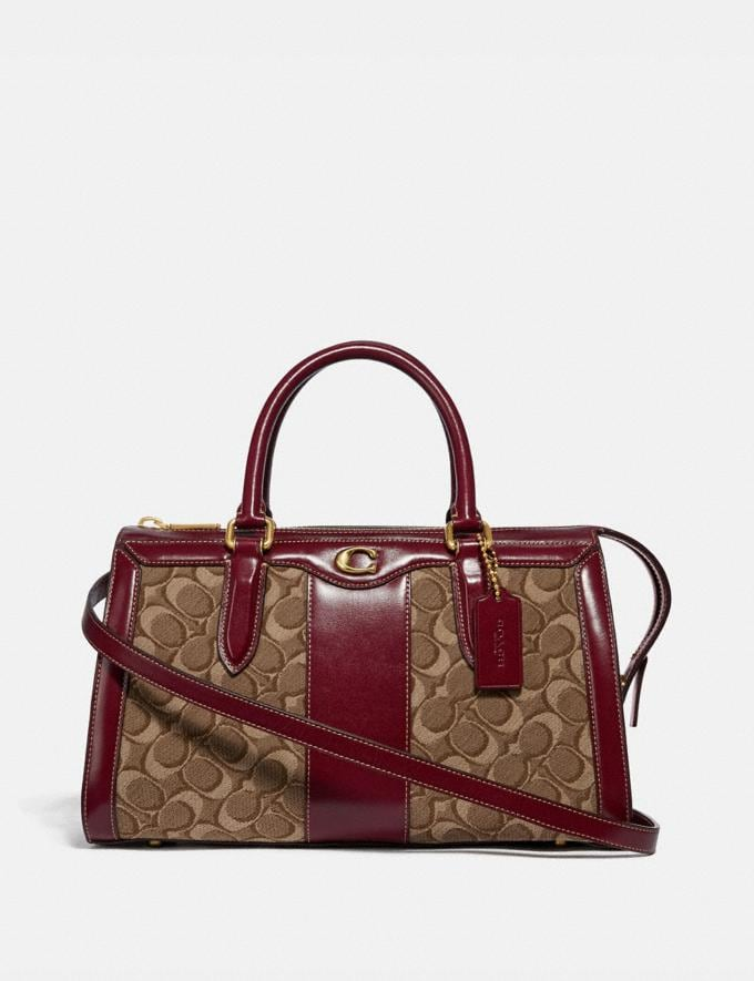 Coach Bond Bag in Signature Jacquard Tan/Scarlet/Brass New Featured Online Exclusives