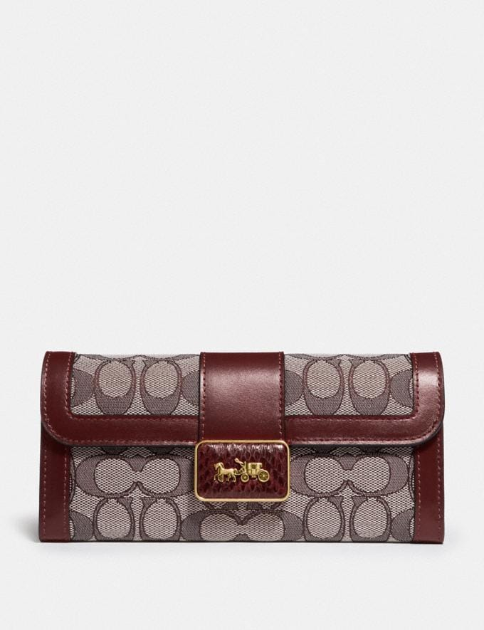 Coach Alie Wallet in Signature Jacquard With Snakeskin Detail B4/Burgundy Blk Cherry New Featured Lunar New Year