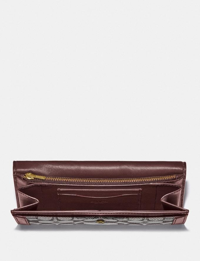 Coach Alie Wallet in Signature Jacquard With Snakeskin Detail B4/Burgundy Blk Cherry New Featured Lunar New Year Alternate View 1