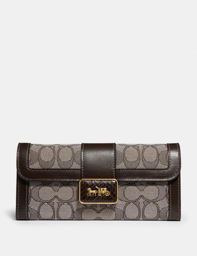 Coach Alie Wallet in Signature Jacquard With Snakeskin Detail B4/Oak Maple Women Small Leather Goods Large Wallets