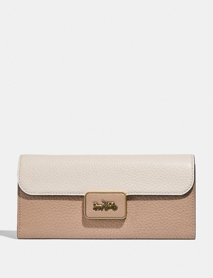 Coach Alie Wallet in Colorblock B4/Taupe Multi Women Small Leather Goods Large Wallets