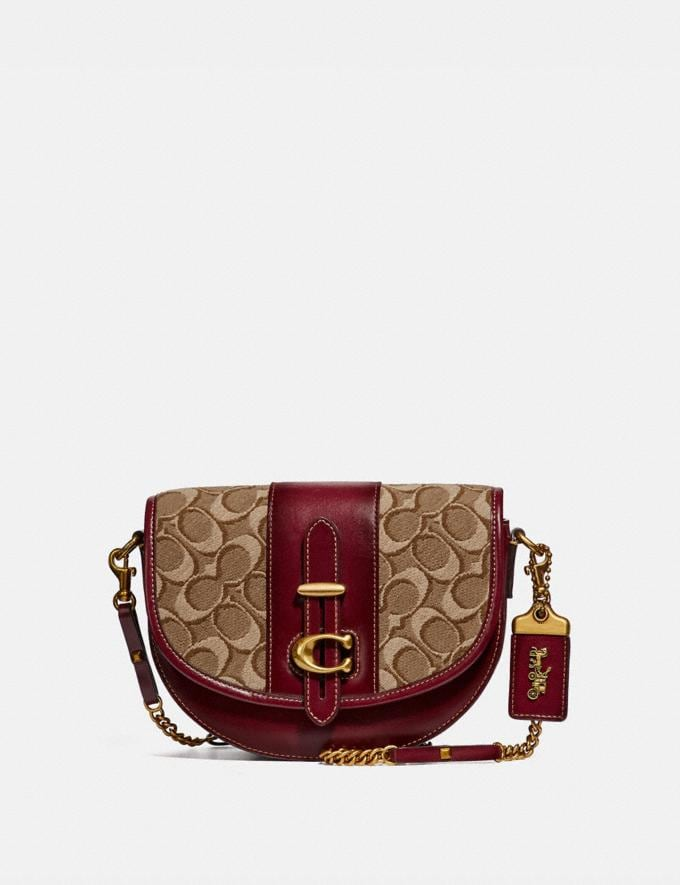 Coach Saddle 20 in Signature Jacquard Tan/Scarlet/Brass Women Bags