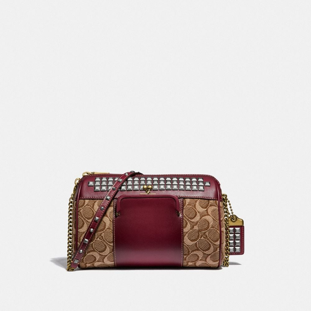 JONI CROSSBODY IN SIGNATURE JACQUARD WITH PYRAMID RIVETS