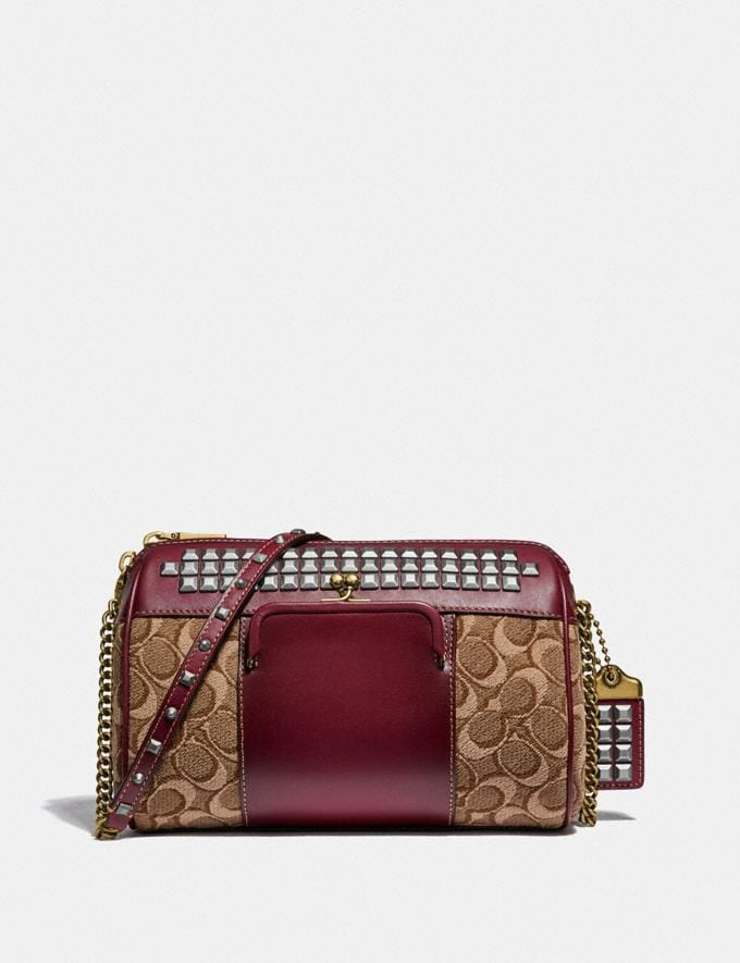 Coach Joni Crossbody in Signature Jacquard With Pyramid Rivets Tan/Scarlet/Brass Women Bags Crossbody Bags
