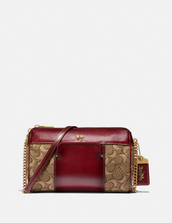 Coach Joni Crossbody in Signature Jacquard Tan/Scarlet/Brass New Women's New Arrivals Bags