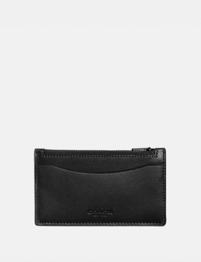 Coach Zip Card Case Black Men Wallets Card Cases