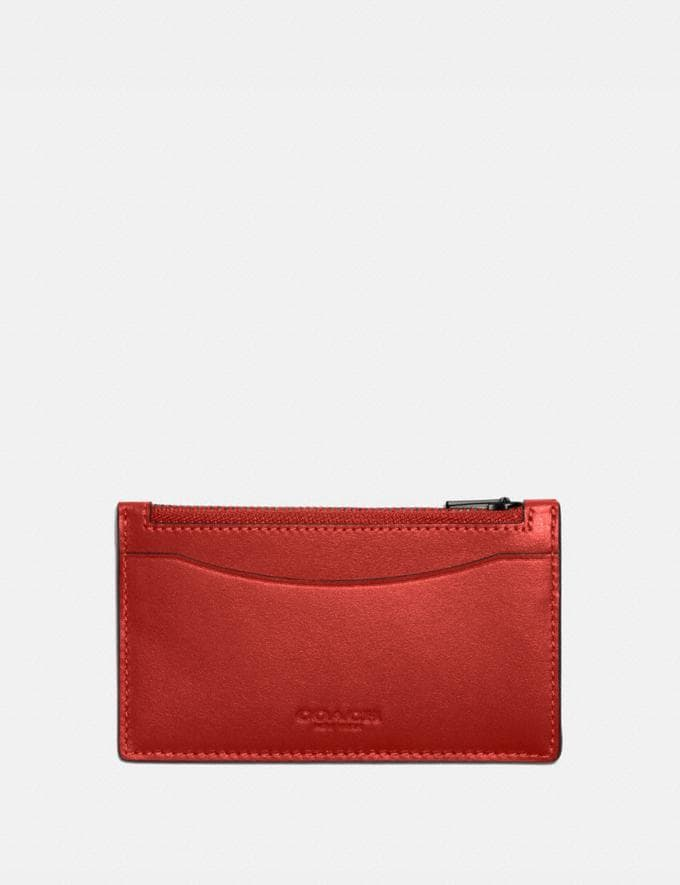 Coach Zip Card Case Red Sand New Men's New Arrivals Wallets