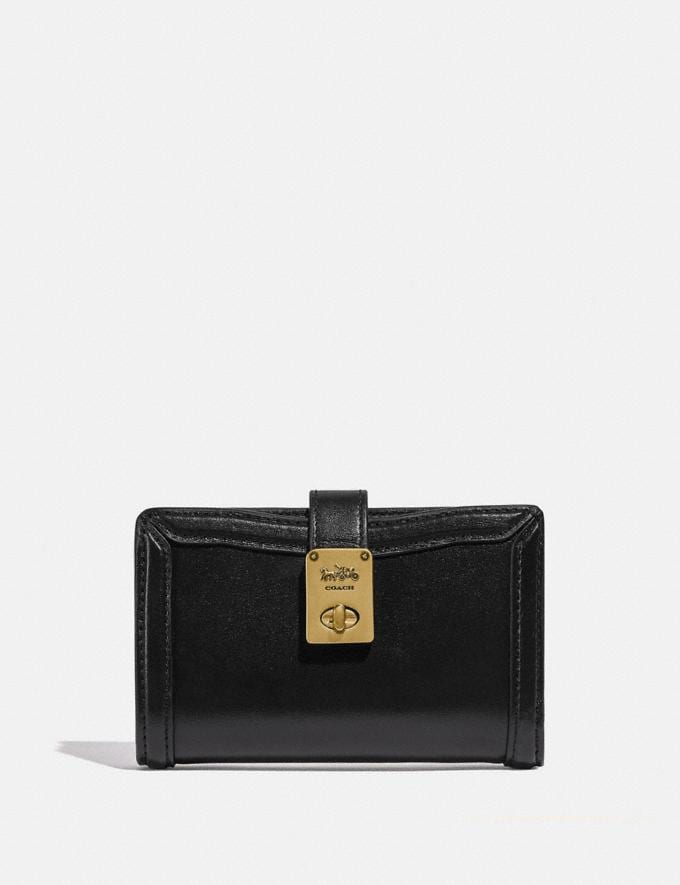 Coach Hutton Wallet Brass/Black Women Small Leather Goods Small Wallets