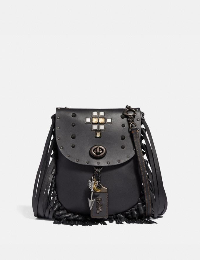 Coach Fringe Saddle Bag With Pyramid Rivets Black/Pewter Women Bags Crossbody Bags