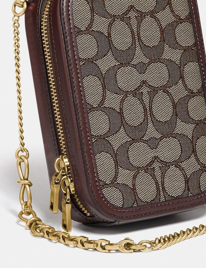 Coach Alie Camera Bag in Signature Jacquard Brass/Oak Maple  Alternate View 4