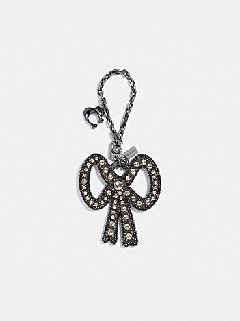 crystal bow bag charm