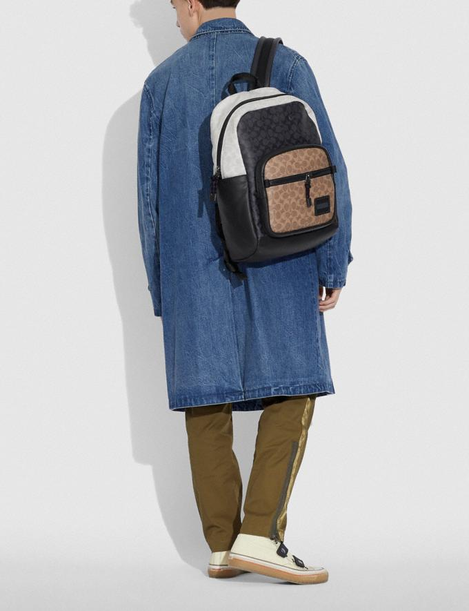 Coach Pacer Tall Backpack 29 in Colorblock Signature Canvas Ji/Charcoal Multi Men Bags Backpacks Alternate View 4
