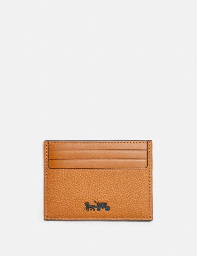 Coach Card Case Dark Amber Men Wallets Card Cases
