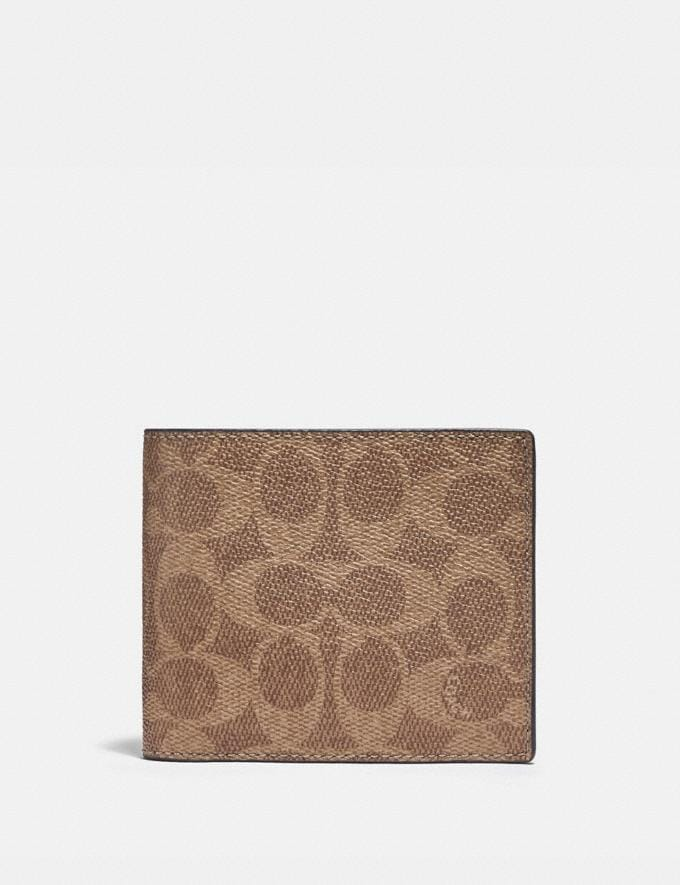 Coach 3-In-1 Wallet in Colorblock Signature Canvas Charcoal/Khaki/Chalk PRIVATE SALE For Him Wallets