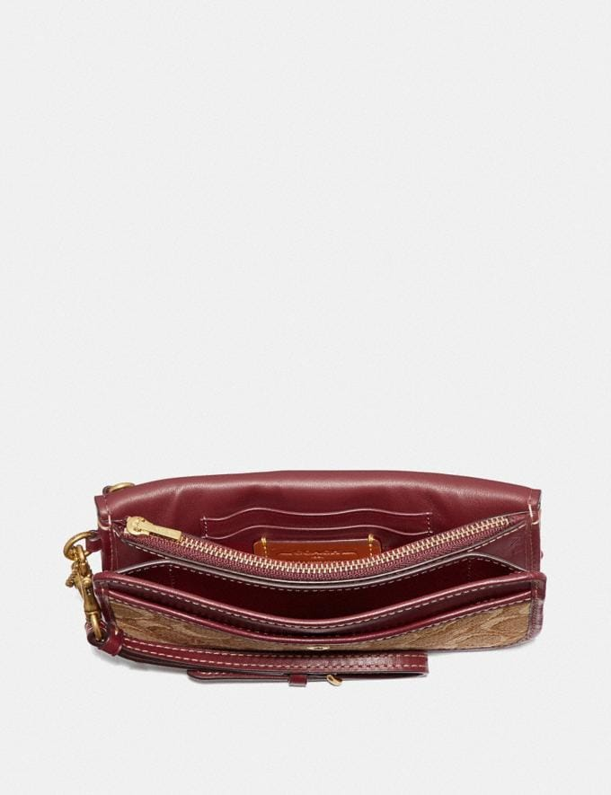 Coach Clutch in Signature Jacquard Tan/Scarlet/Brass Women Small Leather Goods Wristlets Alternate View 1