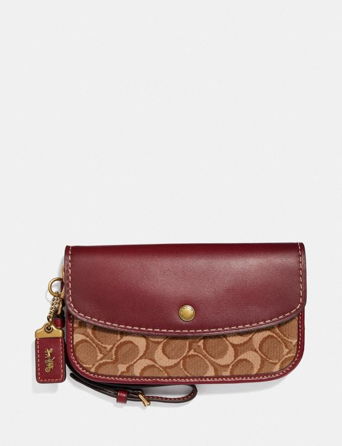 Coach Clutch in Signature Jacquard Tan/Scarlet/Brass Women Small Leather Goods Wristlets