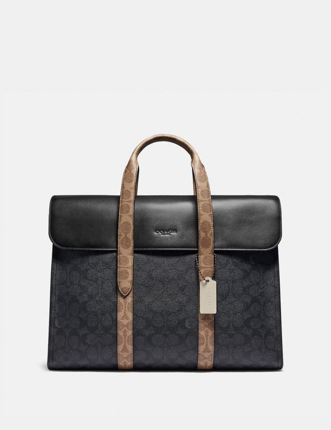 Coach Metropolitan Portfolio in Colorblock Signature Canvas Black Copper/Charcoal Multi Men Bags Briefcases