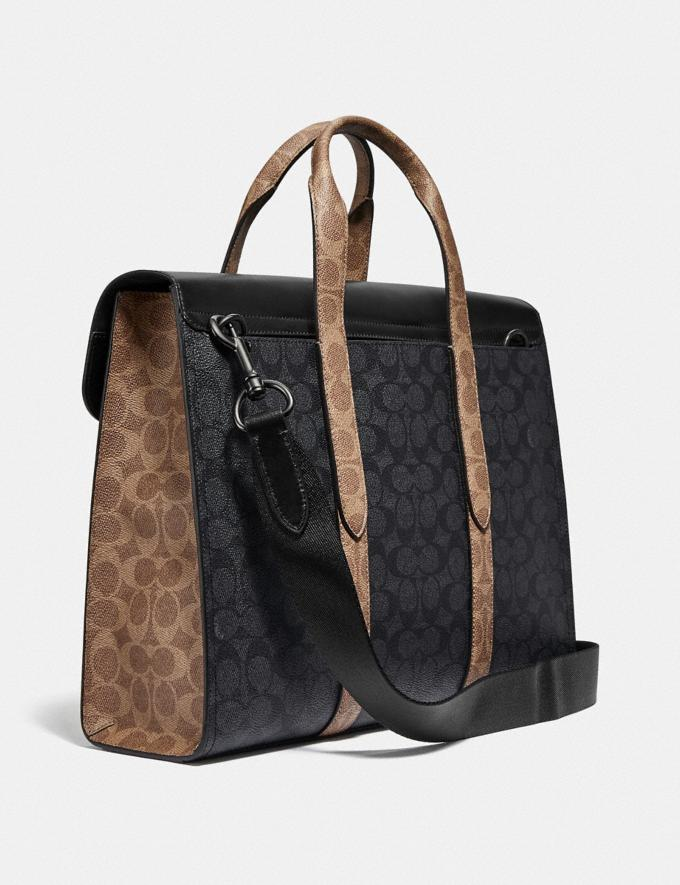 Coach Metropolitan Portfolio in Colorblock Signature Canvas Black Copper/Charcoal Multi Men Bags Briefcases Alternate View 1