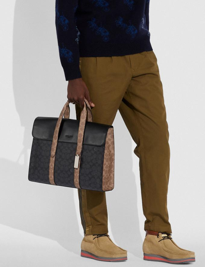 Coach Metropolitan Portfolio in Colorblock Signature Canvas Black Copper/Charcoal Multi Men Bags Briefcases Alternate View 3