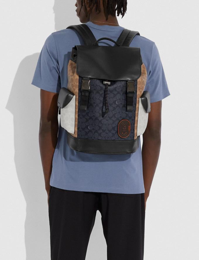 Coach Rivington Backpack in Colorblock Signature Canvas Ji/Charcoal Multi Cyber Monday For Him Cyber Monday Sale Alternate View 3