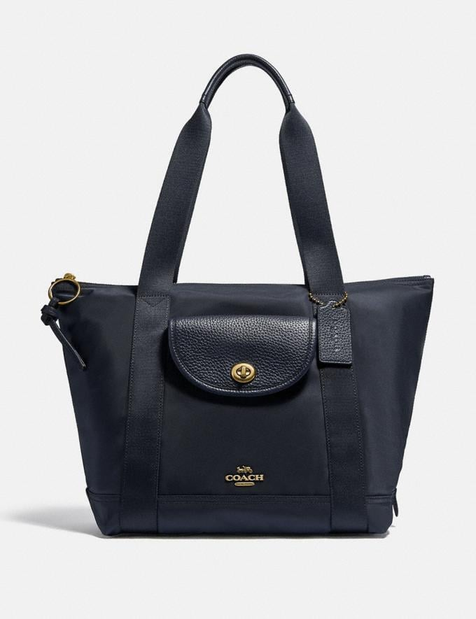 Coach Cargo Tote Brass/Midnight Navy New Featured Online Exclusives