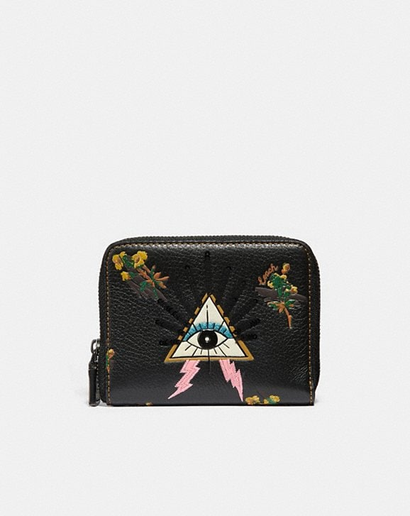 Coach SMALL ZIP AROUND WALLET WITH PYRAMID EYE