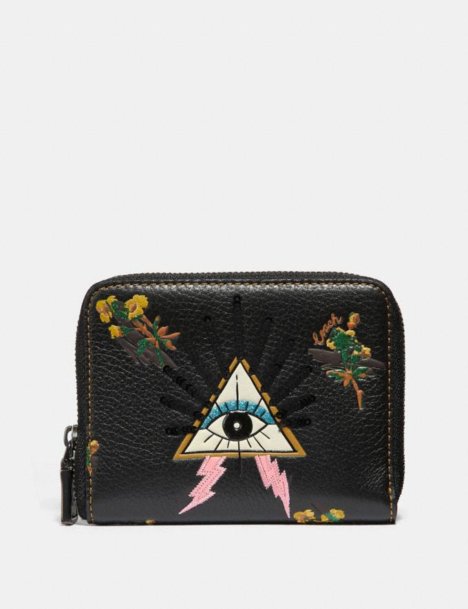 Coach Small Zip Around Wallet With Pyramid Eye Black/Pewter Women Wallets & Wristlets Small Wallets