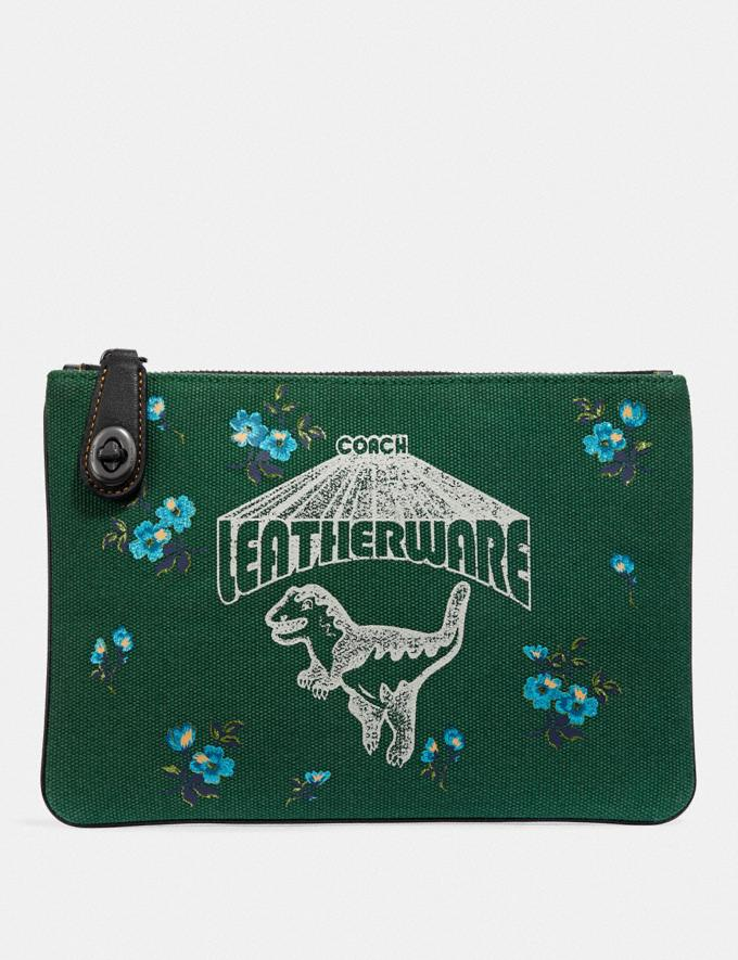 Coach Turnlock Pouch 26 With Rexy Pewter/Green