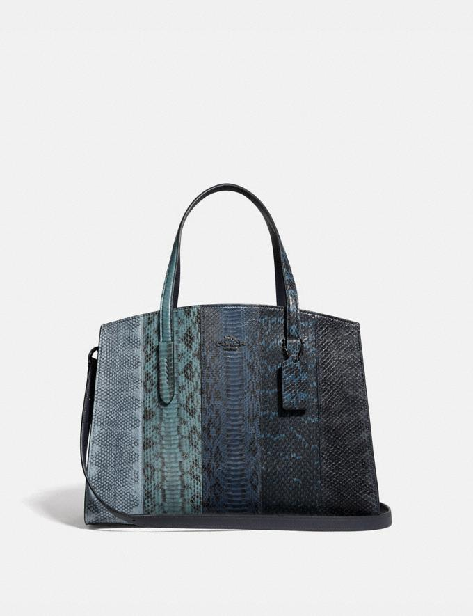 Coach Charlie Carryall in Ombre Snakeskin Blue/Gunmetal New Women's New Arrivals Bags