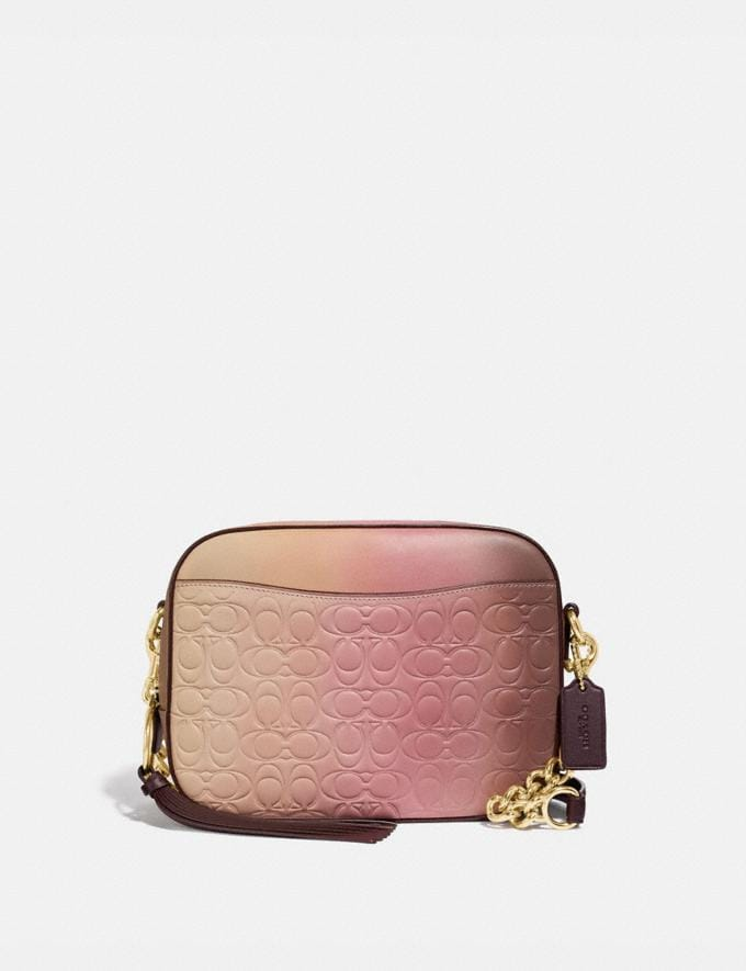 Coach Camera Bag in Ombre Signature Leather Pink Multi/Gold Women Bags Crossbody Bags