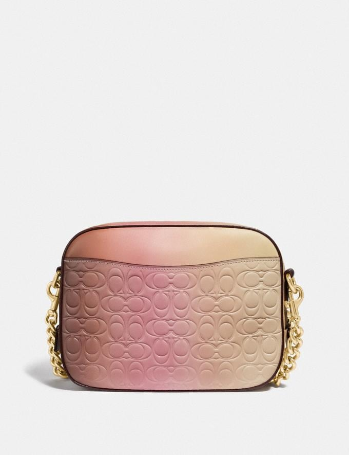 Coach Camera Bag in Ombre Signature Leather Pink Multi/Gold Women Bags Crossbody Bags Alternate View 2