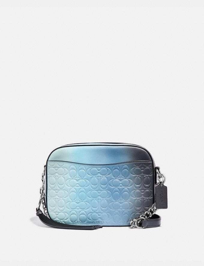 Coach Camera Bag in Ombre Signature Leather Blue Multi/Silver Gifts For Her Valentine's Gifts
