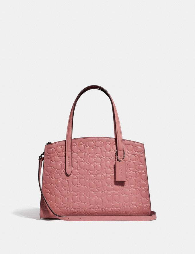 Coach Charlie Carryall 28 in Signature Leather Silver/Light Blush Gifts For Her Valentine's Day Gifts