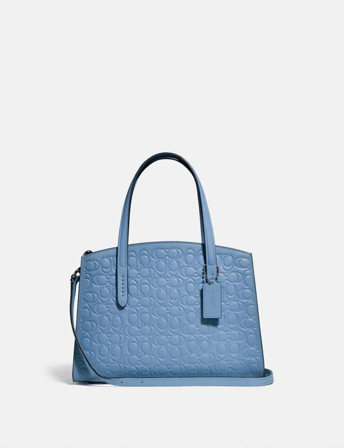Coach Charlie Carryall 28 in Signature Leather Slate/Silver Gifts For Her Valentine's Gifts