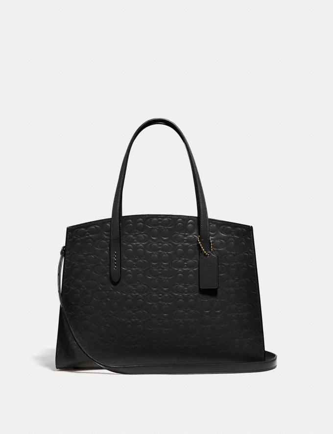 Coach Charlie Carryall in Signature Leather Gold/Black New Women's New Arrivals