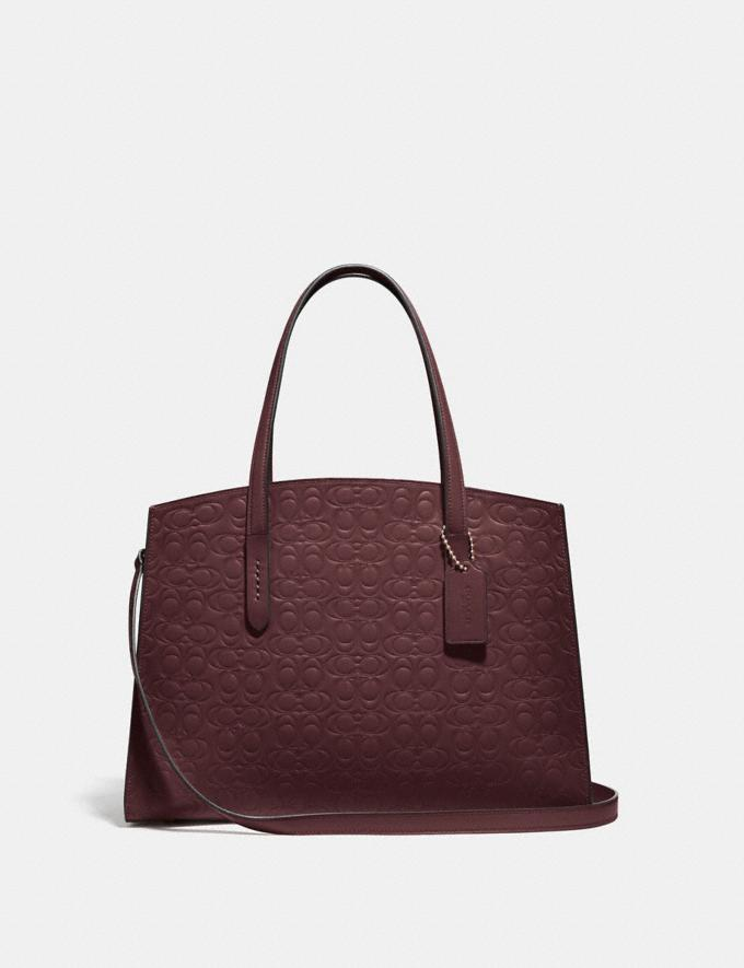 Coach Charlie Carryall in Signature Leather Gold/Oxblood Women Bags Satchels