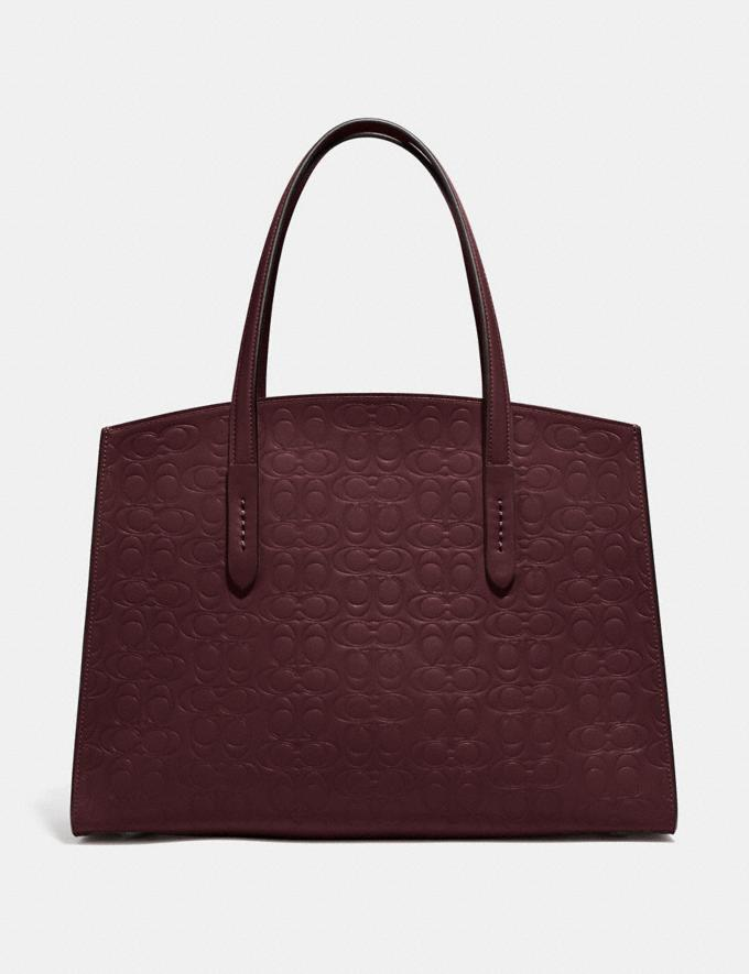 Coach Charlie Carryall in Signature Leather Gold/Oxblood Women Bags Satchels Alternate View 2