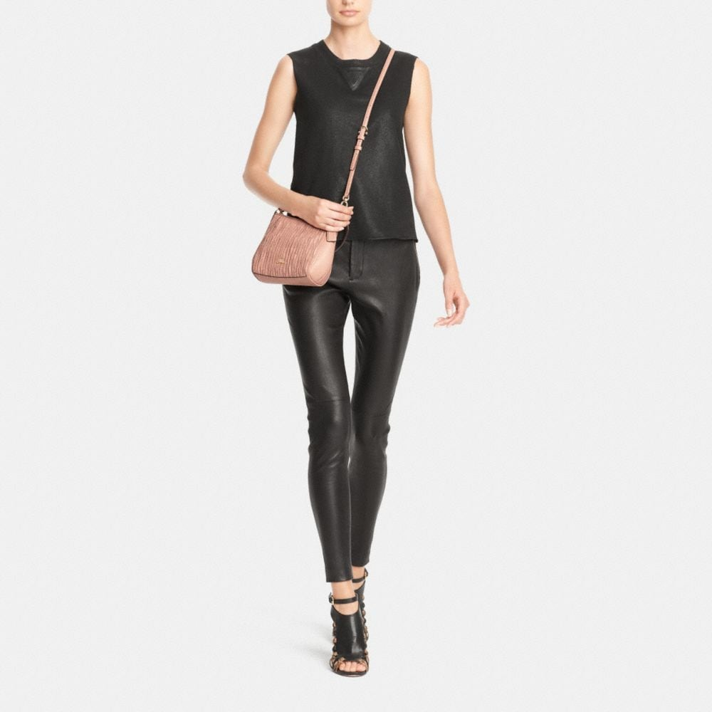 Madison Top Handle Bag in Gathered Leather - Alternate View M