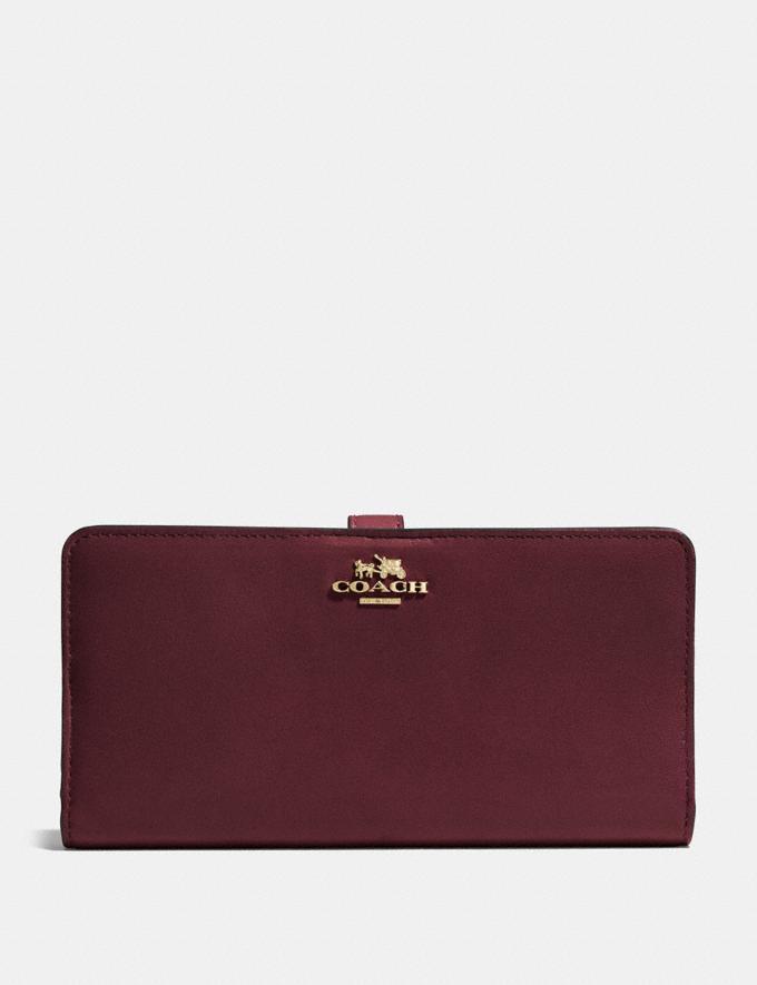 Coach Skinny Wallet Oxblood/Light Gold Women Wallets Large Wallets
