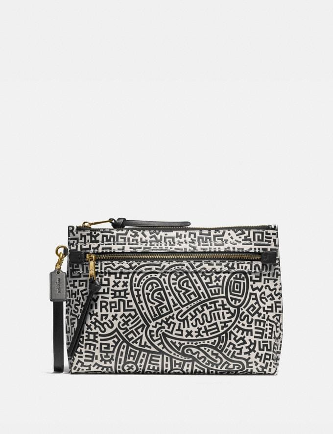 Coach Disney Mickey Mouse X Keith Haring Academy Pouch Black/White Men Bags Pouches